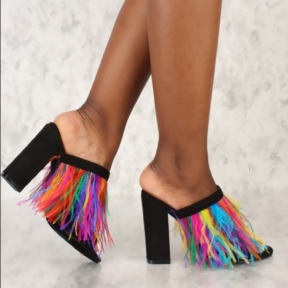 fa0006da2d5 Sexy Rainbow Feather Chunky Heels Mules Faux Suede